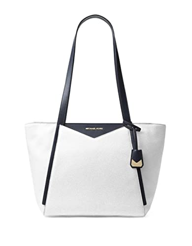 a067c722b7d1 Amazon.com: MICHAEL Michael Kors Whitney Small Leather Top Zip Tote Optic  White/Admiral: Shoes