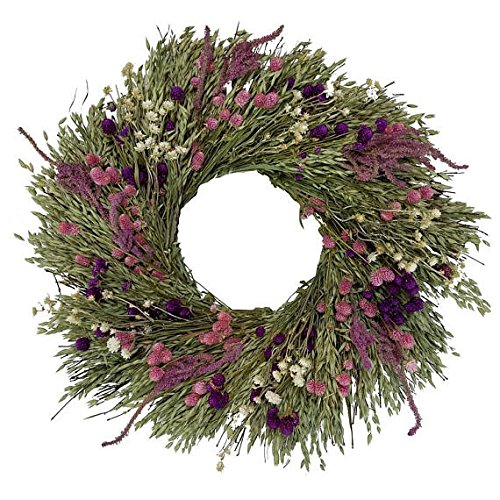 Pink Grasslands All Natural Dried Floral Spring Wreath 22 inches Hand Made in The USA (Wreath Floral Dried)