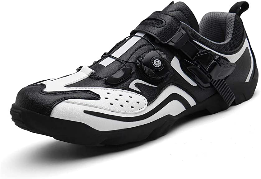 BETOOSEN Men's Women's Road Bike Shoes Quick Lacing Indoor Fitness Cycling Shoes with Buckle