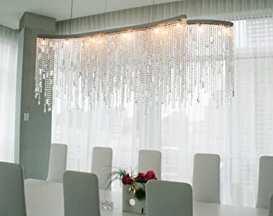 NOXARTE LED Tassels Linear Crystal Chandeliers Lights Top K9 Crystal Chandelier Island Pendant Lamp Lighting Fixture for Dining Living Room Restaurant L39 x W13.8 x H14.6