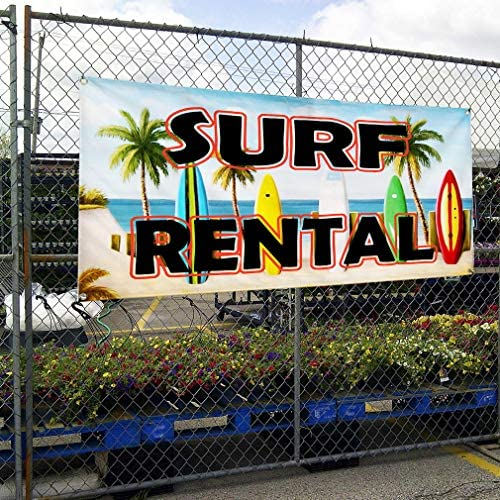 48inx96in One Banner 8 Grommets Vinyl Banner Sign Surf Rentals Business Surf Rentals Marketing Advertising Blue Multiple Sizes Available