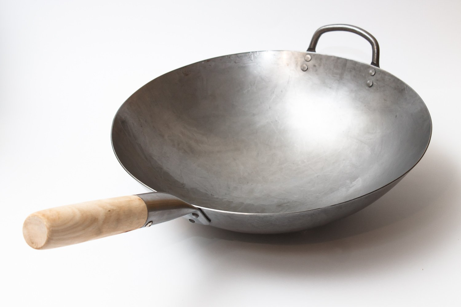 Craft Wok Traditional Hand Hammered Carbon Steel Pow Wok with Wooden and Steel Helper Handle (14 Inch, Round Bottom) / 731W88 by Craft Wok (Image #1)