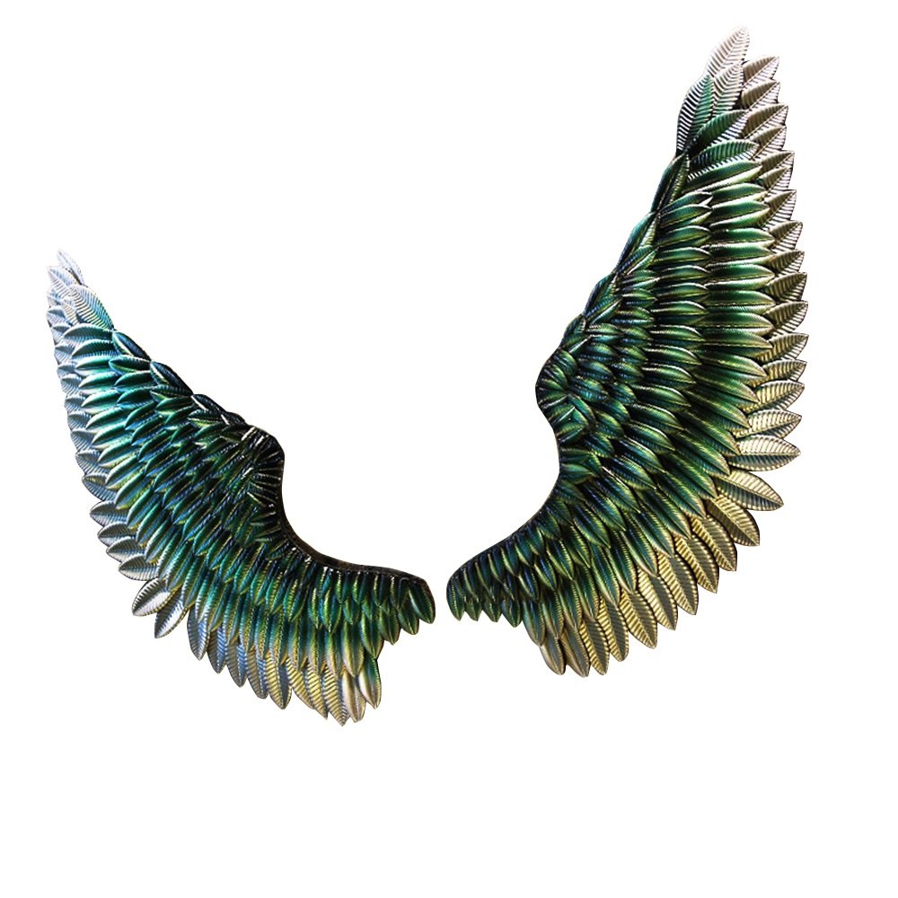 Industrial Wind wing wall-mounted / wrought-iron Wing wall mural / bar Bedroom dining room wall-mounted / retro pendant / wall-mounted pendant /Do old wall jewelry / ( Color : Green )