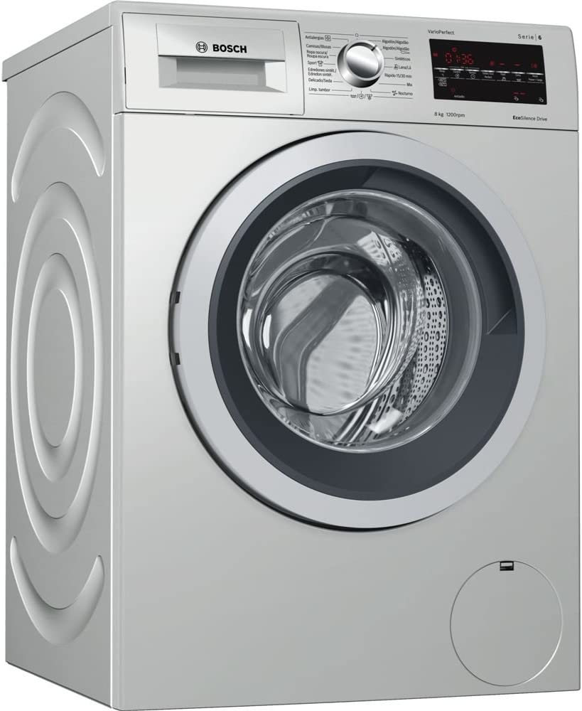 Bosch Serie 6 WAT2449XES Independiente Carga frontal 8kg 1200RPM A+++ Acero inoxidable - Lavadora (Independiente, Carga frontal, Acero inoxidable, Giratorio, Tocar, Izquierda, LED)