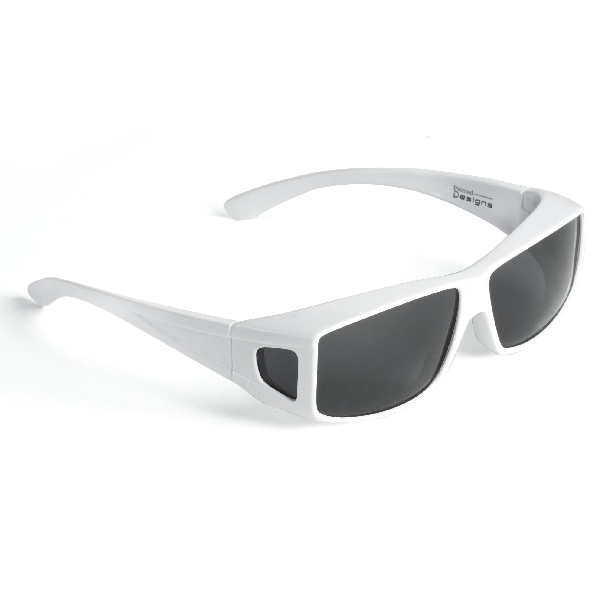 Over Glasses Sunglasses - Polarized Fitover Sunglasses with 100% UV Protection - Style 2 By Pointed Designs (White)