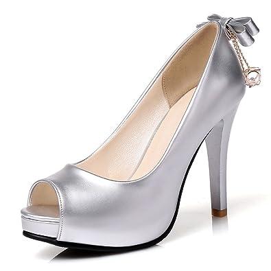 c87ed8b489b6 Amazon.com | SaraIris Women's Pump Shoes Champagne Color Platform Peep-Toe  Stiletto Heels Bowknot Pumps for Summer Party | Pumps