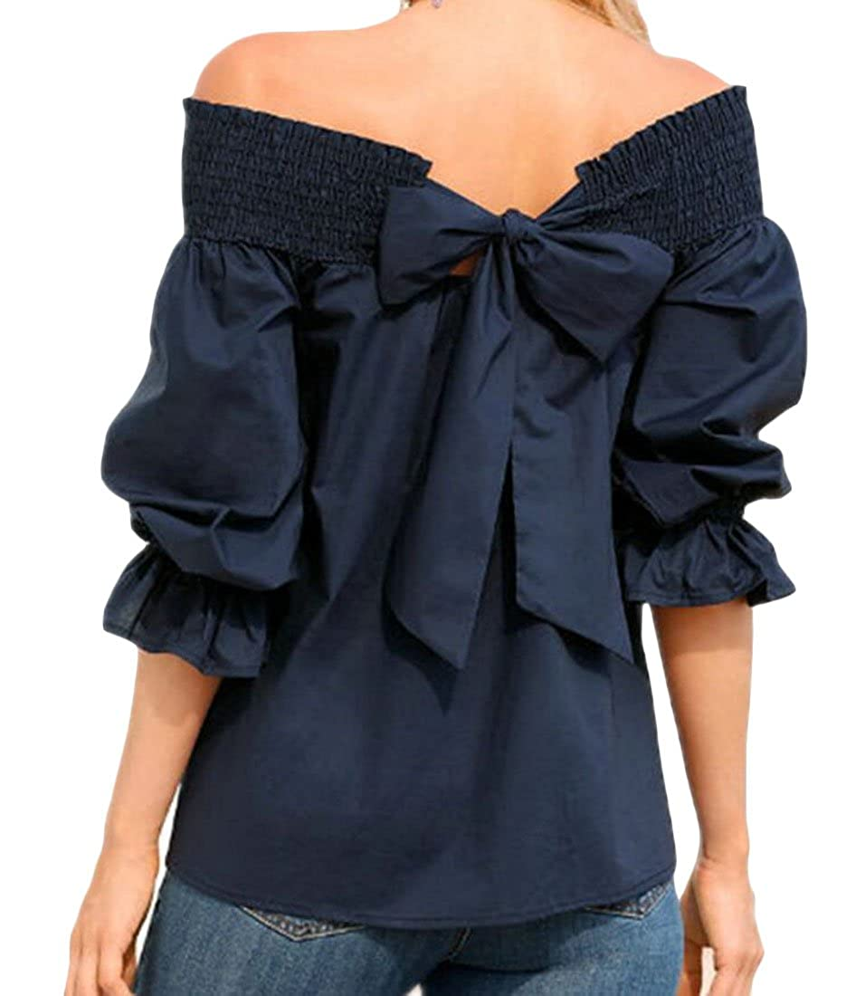 YYear Women's Fashion Tunic 3/4 Sleeve Shoulder Off Bow Tie Blouse Shirt Tops