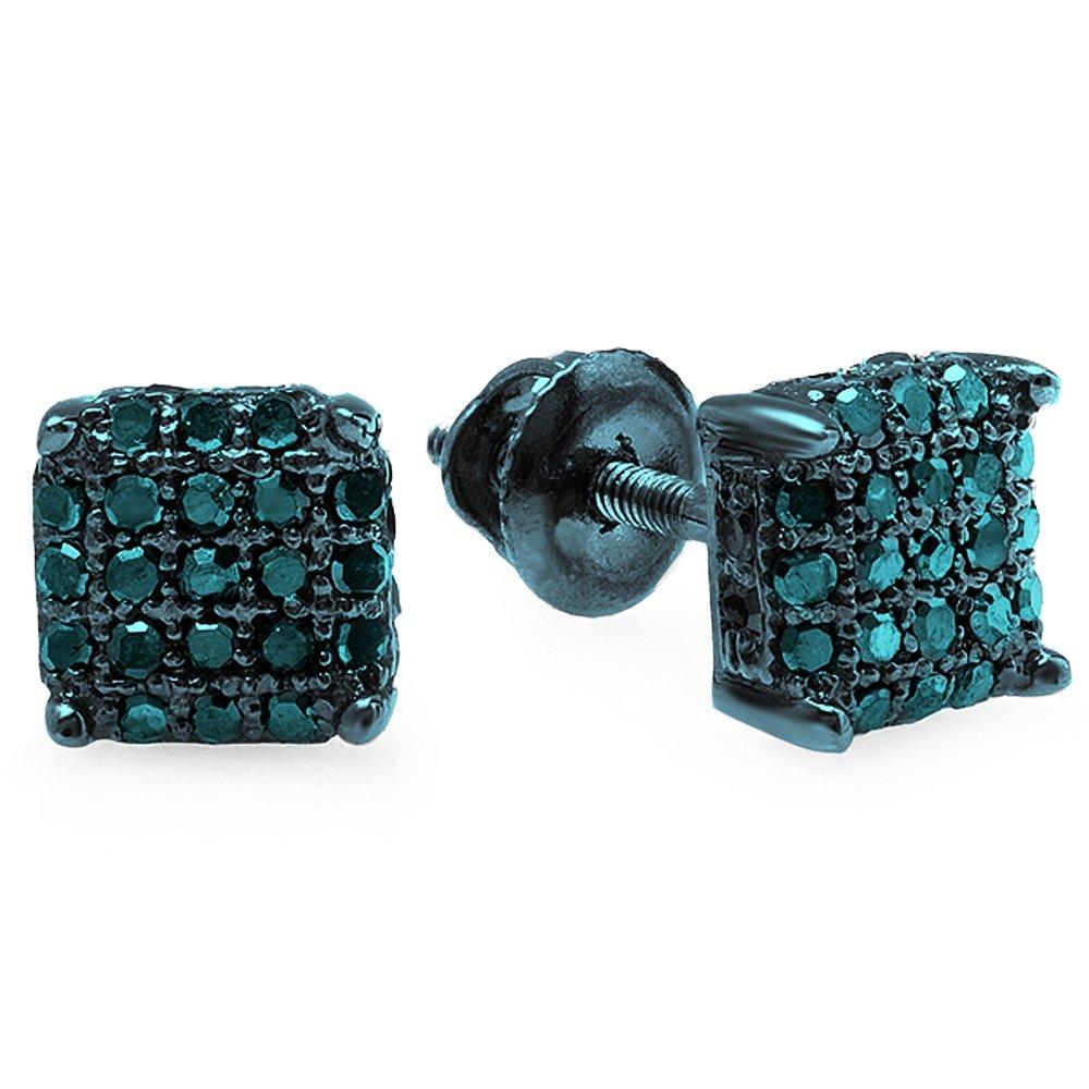 0.33 Carat (ctw) Blue Rhodium Plated Sterling Silver Blue Diamond Dice Shape Iced Stud Earrings 1/3 CT