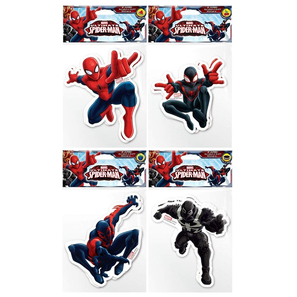 Spider-Man 2099 Agent Venom /& Miles Morales 8 Jumbo Scratch /& Sniff 6 Stickers Scentco 8 Jumbo Scratch /& Sniff 6 Stickers /& Miles Morales Marvel Spider-Man Jumbo Stickers: Spider-Man