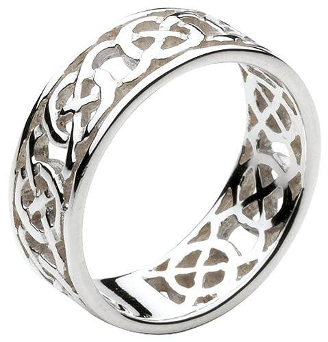 a6b24d3679b2ee Celtique irlandaise Argent circulaire noeud Bague travail.  Amazon ...