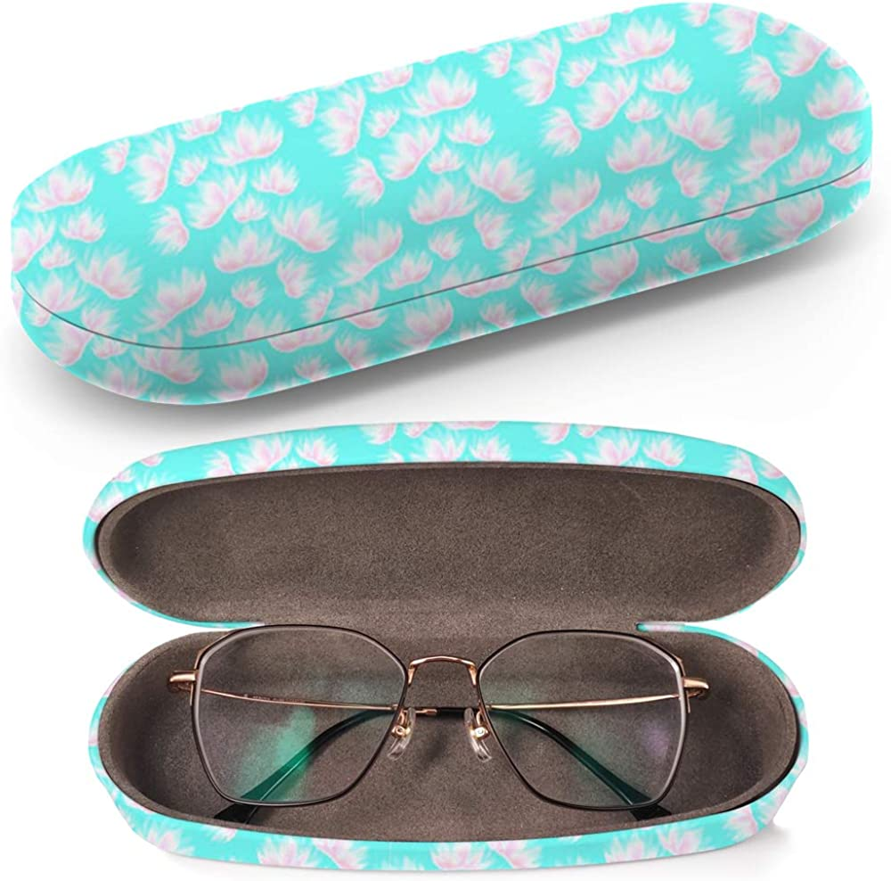 Hardcase Brillenetui Sonnenbrillenetui Brillenbox Kunststof Clamshell-Art-Brillen-Fall mit Brille-Reinigungstuch Pink Watercolor Flowers On Light