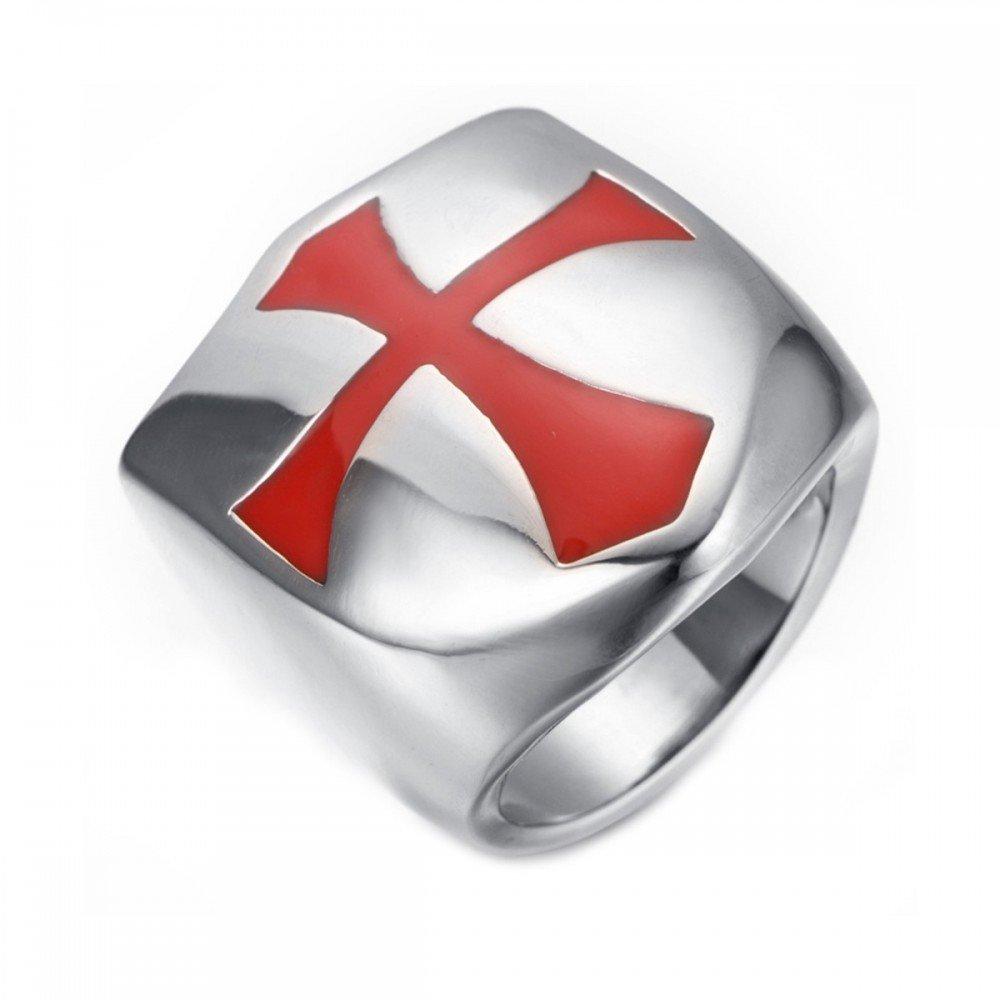 BOBIJOO Jewelry - Bague Chevalière Homme Bouclier des Templiers Croix Rouge Argenté Acier INOX