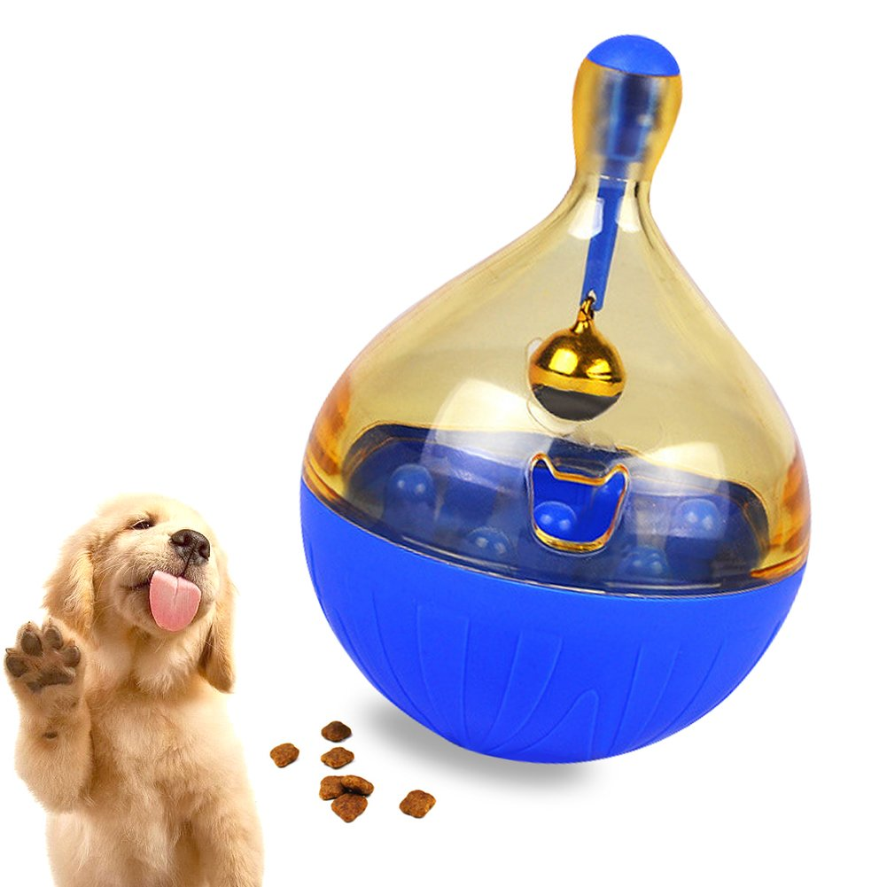 IROYOL Dog Cat Tumbler Food Leakage Dispenser Bell jingles Attracts pet's Attention - Fun & Interactive Food Dispenser (Blue)