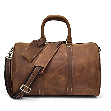 5c7394d74048 Men s Genuine Leather Travel Duffle Large Cow Leather Weekend Bag Overnight  Messenger (Brown3)