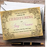Typography Vintage Pale Pink Postcard Christening Party Personalized Invitations