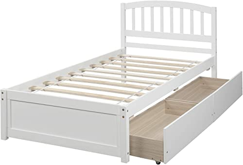 Merax Solid Wood Twin Size Platform Bed