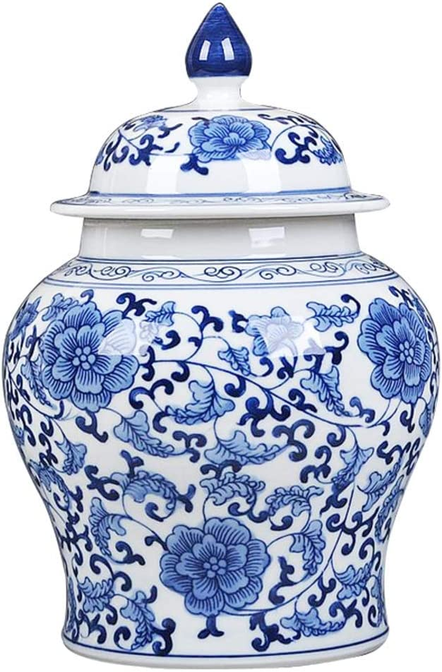 Temple Ginger Jar Vase Home Decor Table Ceramic Vases Chinese Blue and White Ginger Jar Centerpieces Decorative Vases A H26xd17cm