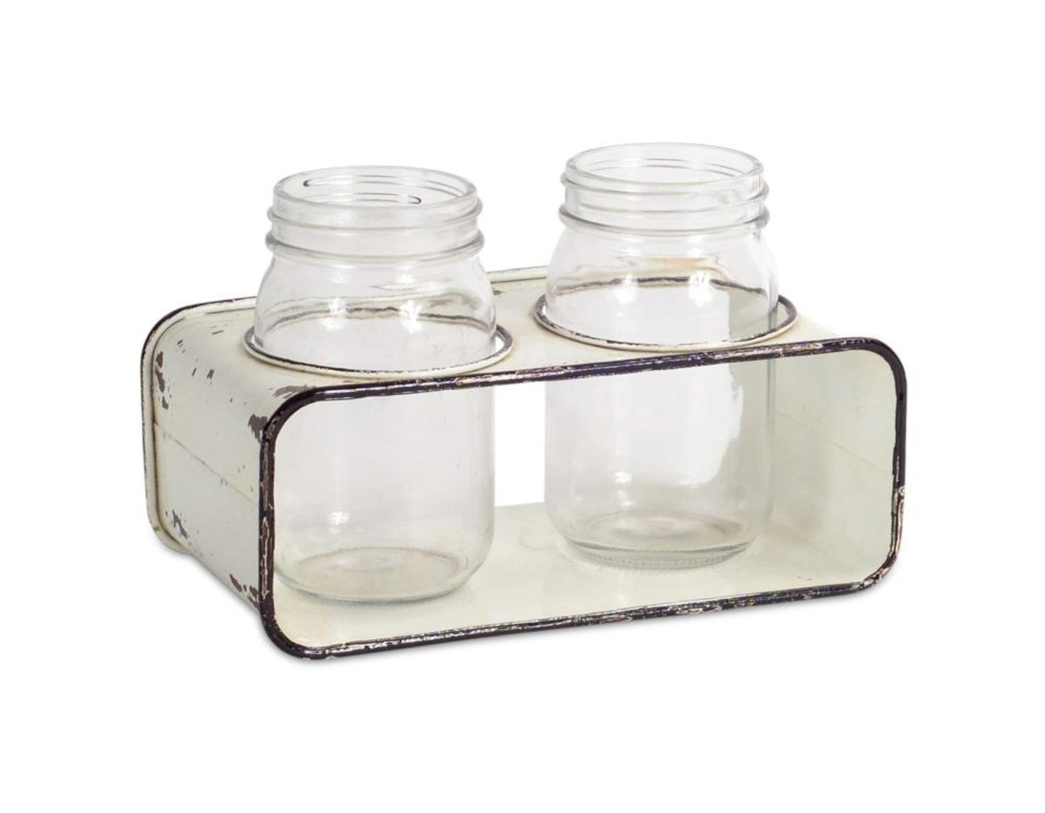 Set of 2 Retro Country Rustic Glass Jars with Rectangle Distressed Metal Holder 16""