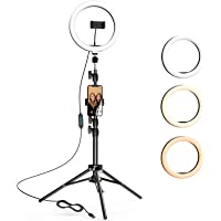 $23 » 10.2 inch Selfie Ring Light with Tripod Stand & 2 Phone Holders, LETSCOM Dimmable Led…