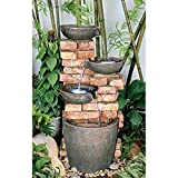 Water Fountain with LED Light - Nearly 3 Foot Tall Stacked Bricks Cascading Water Pots Garden Decor Fountain - Outdoor Water Feature