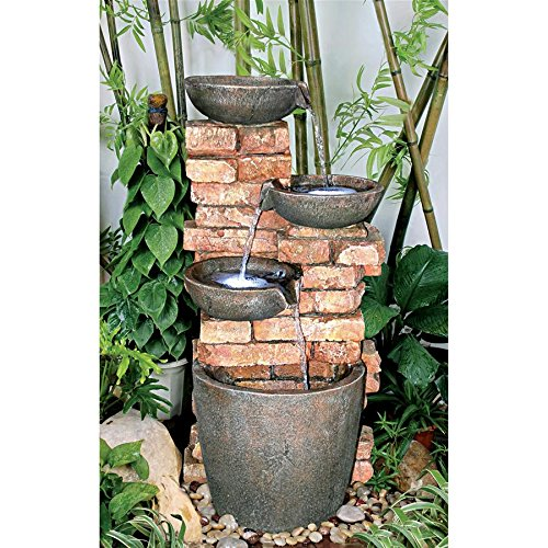Water Fountain with LED Light - Nearly 3 Foot Tall Stacked Bricks Cascading Water Pots Garden Decor Fountain - Outdoor Water Feature by Design Toscano