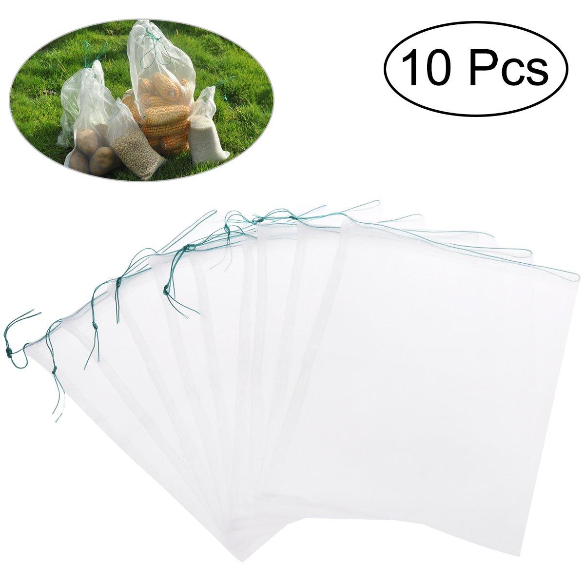 UEETEK Drawstring Nylon Mesh Filter Media Bag for Aquarium Garden Pond,10pcs