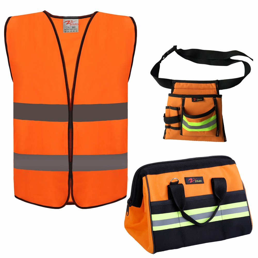 Reflective Tool Bags SETS For Men & Women Include 1pc 16 inch Large Wide Mouth tool bag and 1Pc Reflective Electrical Maintenance Tool Bag and 1PC safety vests (3 Pack Sets, Orange) by zojo