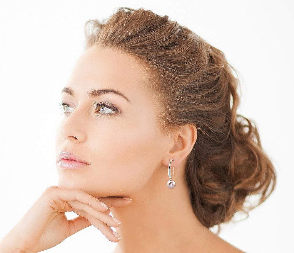 THE PEARL SOURCE Genuine White Freshwater Cultured Pearl Selena Dangle Earrings for Women