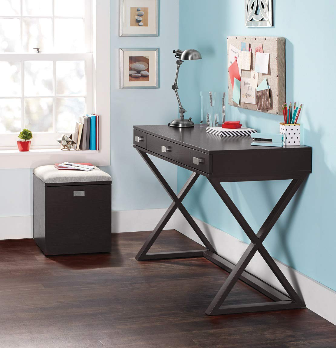 OS Home and Office Furniture Model 384266 Kate Black with Three Drawers Writing Desk