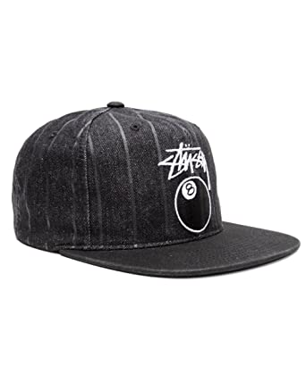 18c3b64cf1c61e Stussy Mens 8 Ball Pinstripe Denim Snapback Adjustable Hat/Cap One Size  Black: Amazon.in: Clothing & Accessories