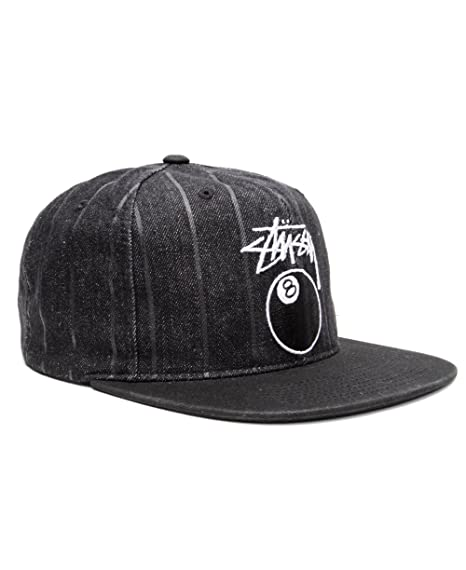 eaf5bafea0a Stussy Mens 8 Ball Pinstripe Denim Snapback Adjustable Hat Cap One Size  Black  Amazon.in  Clothing   Accessories