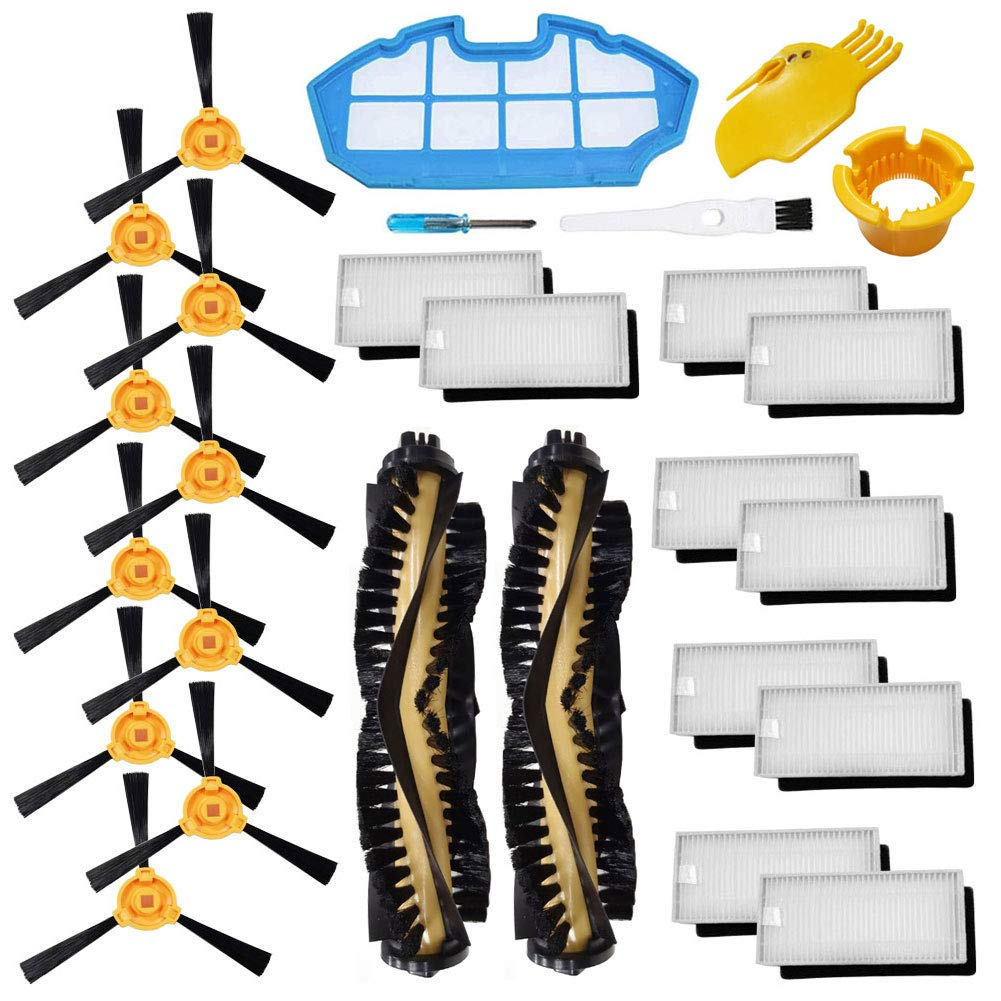 Theresa Hay Accessories Kit for Ecovacs Deebot N79S N79 Robotic Vacuum Cleaner Filters, Side Brushes,Main Brush ... (2+1+10+10) by Theresa Hay