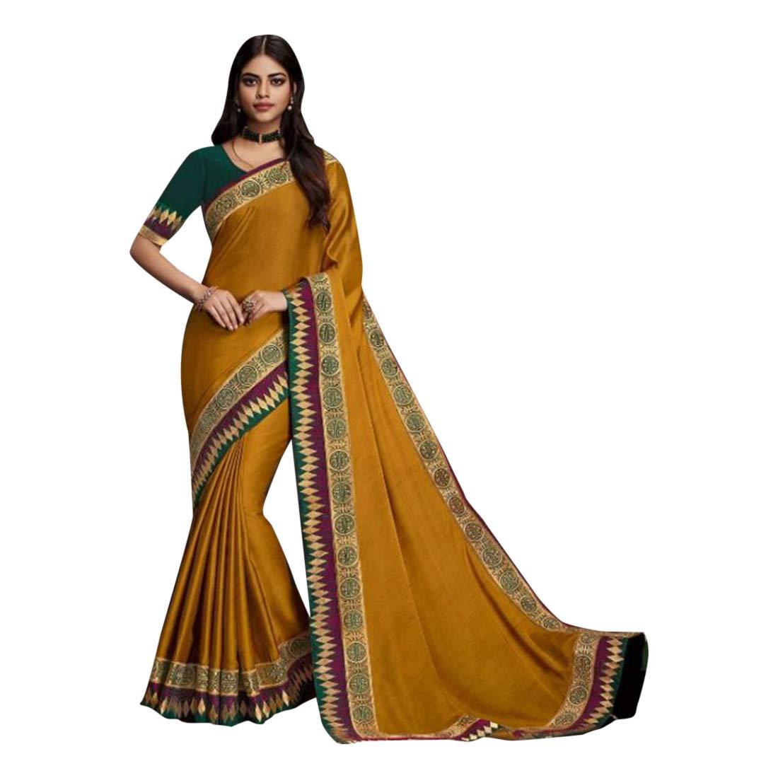 Mustard Plain Border Saree Designer Fern Blouse Evening Wear Party Sari 7493
