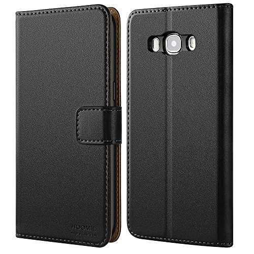 HOOMIL Case Compatible with Samsung Galaxy J7 2016, Premium Leather Flip Wallet Phone Case for Samsung Galaxy J7 LTE (2016) J710M/DS Cover - Black