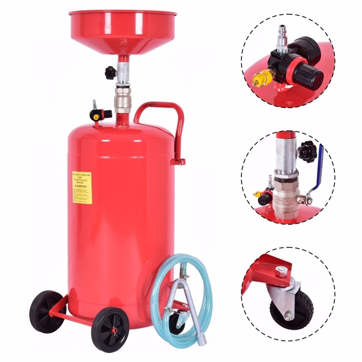 Waste Oil Drain Gallon Portable Air 20 Drainer Capacity Tank Operate Wheel Hose Operated Adjustable Drainage Lift