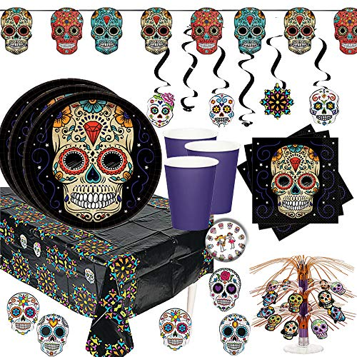Day Of The Dead Birthday (Mega Dia De Los Muertos Day Of The Dead Halloween Party Pack for 18 With Plates, Napkins, Tablecover, Cups, Banner, Swirls, Table Decoration, and)