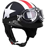 KKmoon Half Open Face Motorcycle Helmet with Goggles Visor Scarf Biker Scooter Touring Helmet for Harley