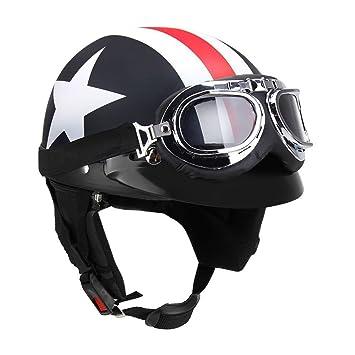 KKmoon Casco Medio Abierto Protección Cara con Gafas Visera Bufanda para Motocicleta Scooter Bicicleta Touring