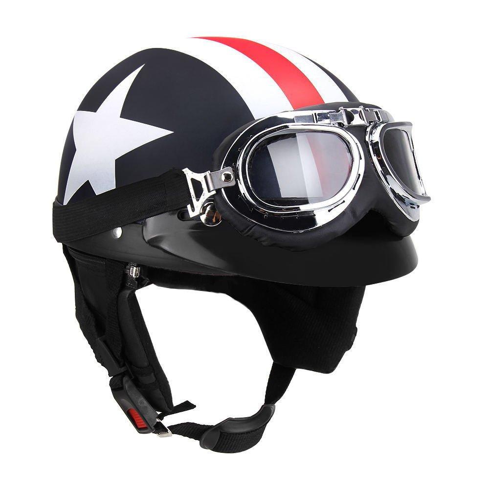 KKmoon Half Open Face Motorcycle Helmet with Goggles Visor Scarf Biker Scooter Touring Helmet