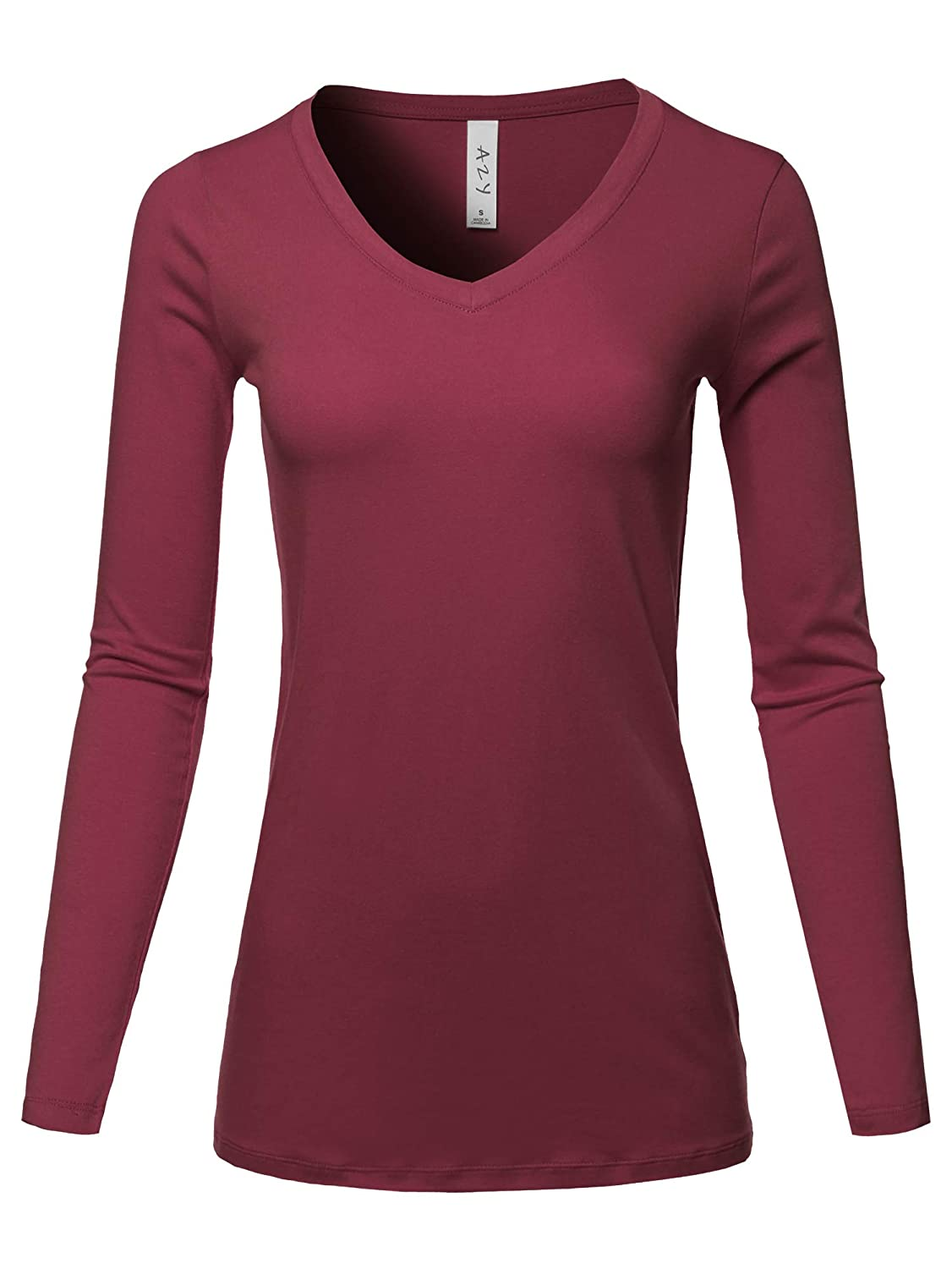 Women's Basic Solid Soft Cotton Long Sleeve V-Neck Top T-Shirt (S - 3XL)