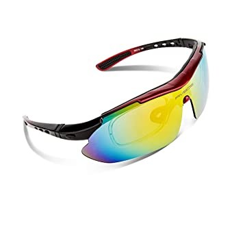 RIVBOS 806 POLARIZED Sports Sunglasses with 5 Set Interchangeable Lenses for Cycling (Red)