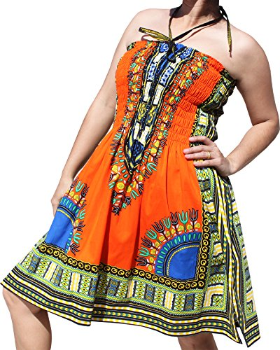 Raan Pah Muang RaanPahMuang Smock Bust Open Shoulder Dashiki Colour Halter Strap Dress or Skirt, Large, Pumpkin Orange