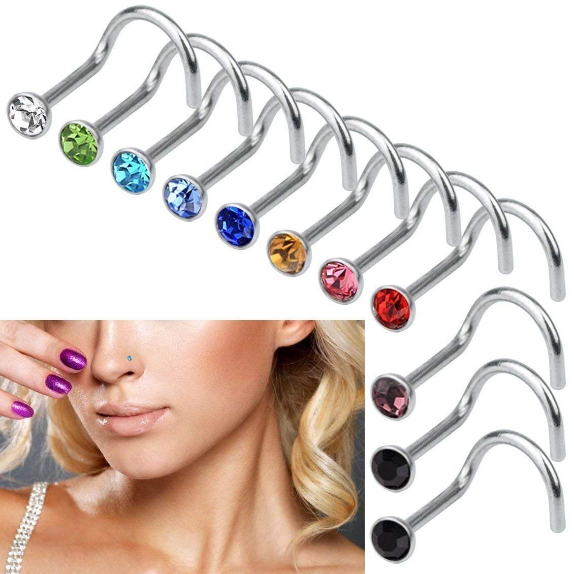 60pcs Tiny Surgical Steel Nose Studs Ring Rhinestone Body Piercing Jewellery CO
