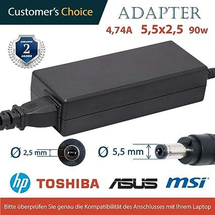 Universales Laptop Netzteil 4.74A 5,5x2,5 19v 90w   Universales Ladekabel für die Laptops ASUS, Toshiba, MSI, HP   2 Jahre Ga