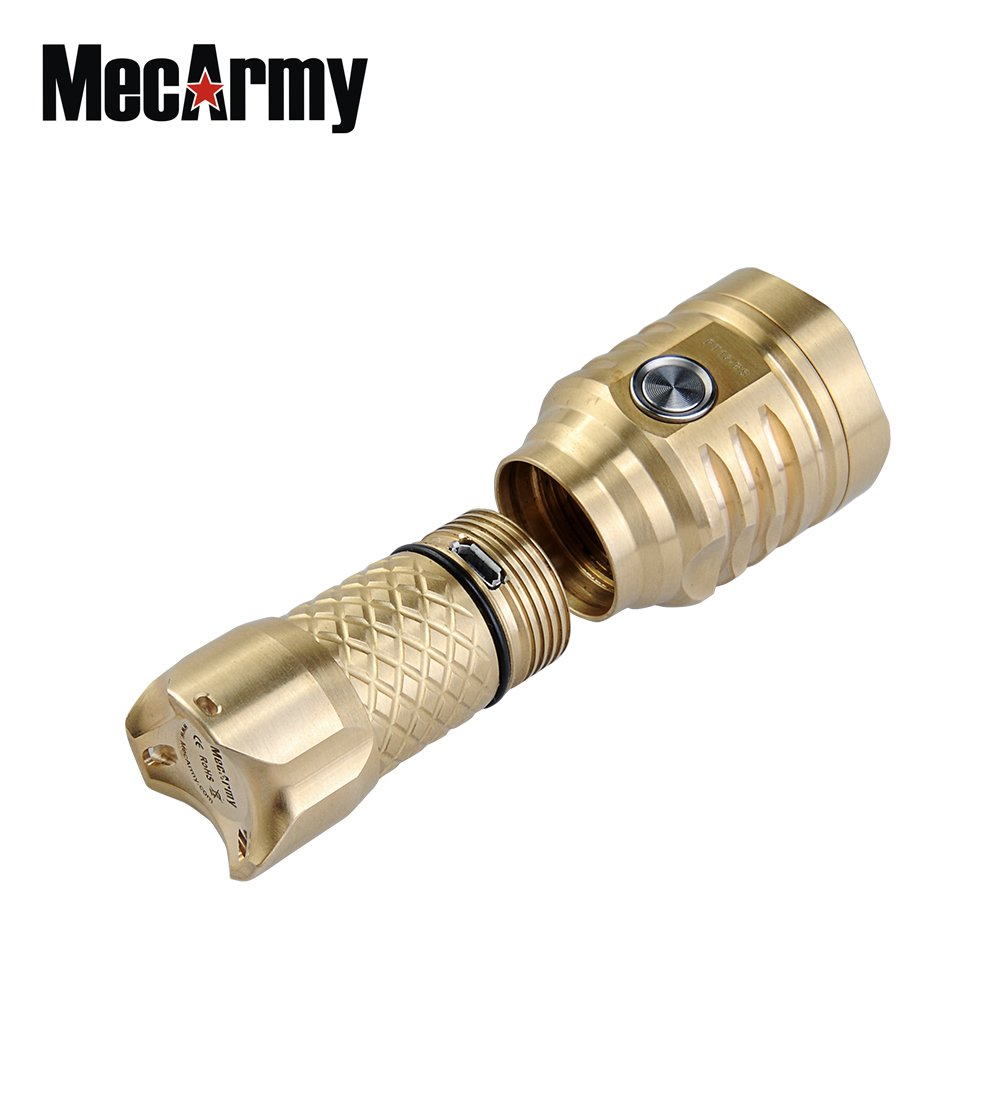 MecArmy PT16 Brass BUNDLE with Key Chain LED Flashlight 1200 Lumens, Rechargeable 16340 Battery, Lanyard, and Mini USB Light by MecArmy (Image #4)