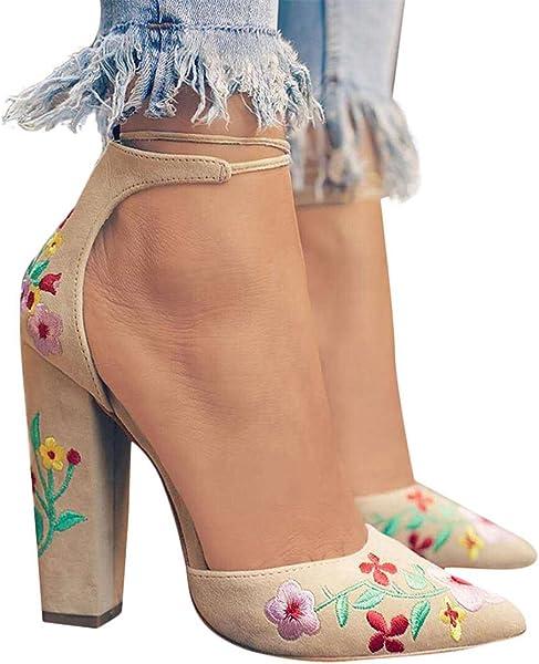 Scarpe col Tacco Alto da Donna con Ricamo Floreale Sandali con Zeppa Donna  Scarpe Stile Bohemie Infradito da Donna Ragazze Pantofole Donna Eleganti  Estivi 6c651053a3f