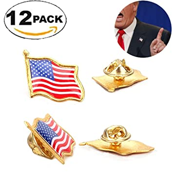 Q-Eshop 20mm USA Patriotic Waving Lapel Pin Golden Frame - Wear ...