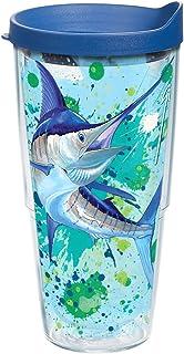 19e7ae17805 Tervis 1168628 Guy Harvey - Marlin Splash Tumbler with Wrap and Blue Lid  24oz, Clear