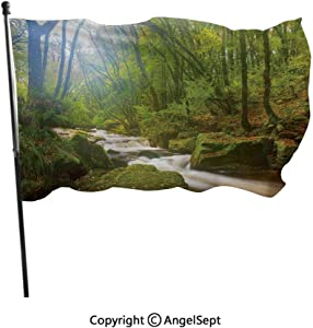 AngelSept Polyester Garden Flag House Banner,Forest Scene at Golitha Falls Nature Reserve on The River Fowey Cornwall England,3x5 ft,Decoration Flag for Wedding Party Home