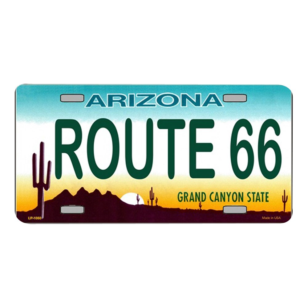 Smart Blonde Route 66 Arizona Novelty State Background Vanity Metal License Plate Tag Sign